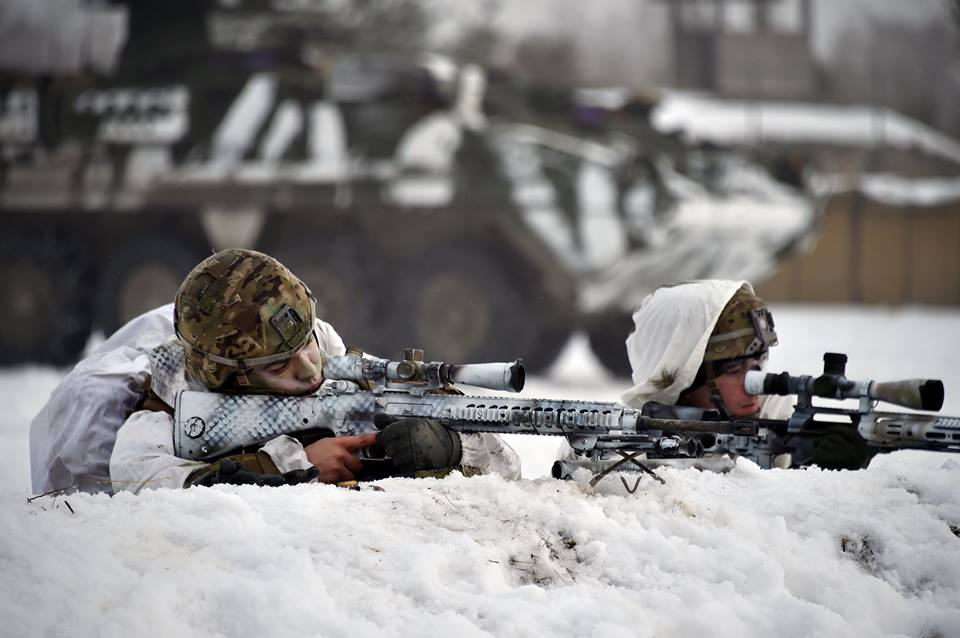 Snow-caped snipers with what appear to be an M110 SASS in 7.62x51 NATO, left, and an XM2010 Enhanced Sniper Rifle in .300 Winchester Mag, respectively.