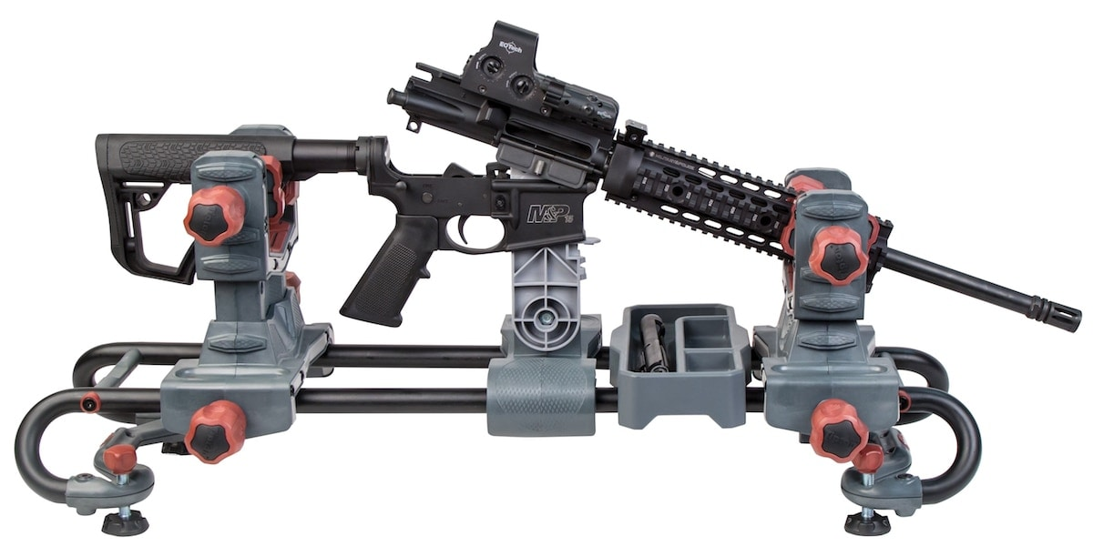The Ultra Gun Vise is configured to accept both firearms and bows. (Photo: Tipton Cleaning Supplies)