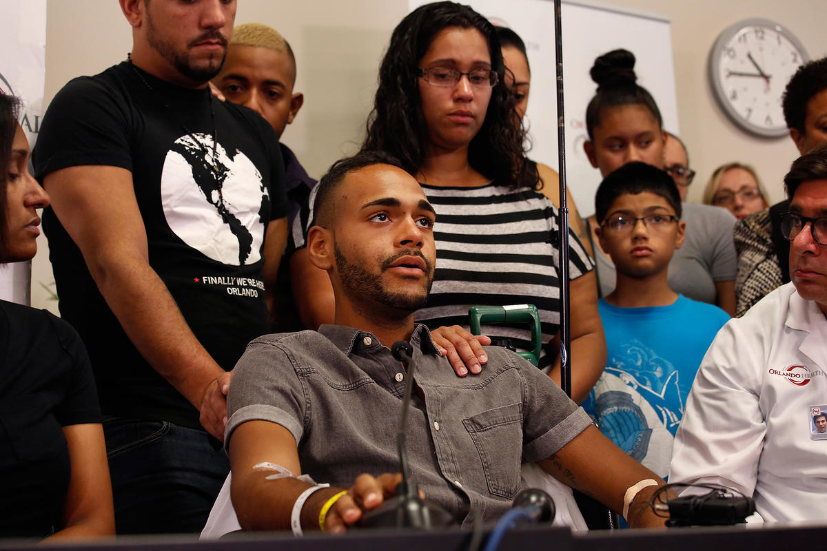 Pulse nightclub shooting survivor Angel Colon speaks at a news conference in June, 2016 (Photo: Getty Images)