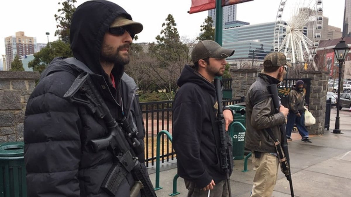 Georgia area militia group, III% Security Force, act as security at a pro-Trump rally (Photo: WSB-TV)