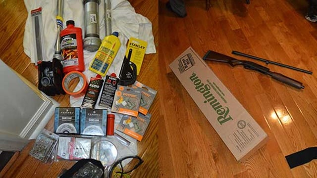 Police photos of the bomb-making material and shotgun recovered from Nichole Cevario's home in Thurton, Maryland. (Photo: Franklin County Sheriff's Office)