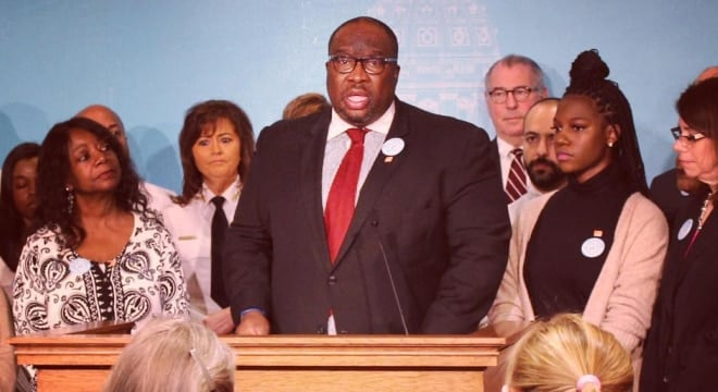 State Sen. Jeff Hayden joined legislators and gun control advocates on Feb. 23 to unveil legislation in honor of his late sister, Taylor, on what would have been her 26th birthday. (Photo: Minn Senate DFL)