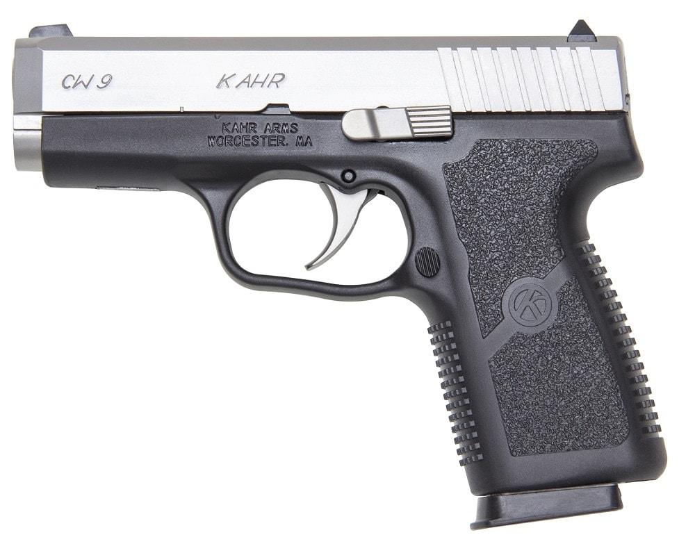 """The CW9093N is a classic looking two-tone gun with a stainless slide and black polymer frame. The """"N"""" designation denotes the drift adjustable white bar-dot combat rear and a pinned polymer front night sight."""