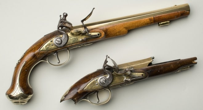 This pair of flintlock holster pistols were belived to have been owned by George Washington and were made in England in the 18th Century. (Photo: Mount Vernon)
