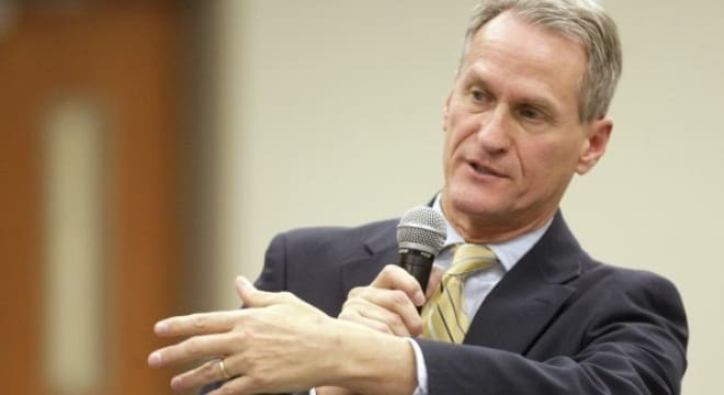 Gov. Dennis Daugaard in his veto measure touted the fact he was an NRA member and supports the right to bear arms but didn't see the need for constitutional carry. (Photo: Rapid City Journal)