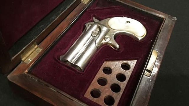 The Remington derringer alleged to be recovered from the hotel room where Doc Holliday died on Nov. 8, 1887 in Glenwood Springs, Colo. (Photo:Chelsea Self/Glenwood Springs Post Independent)