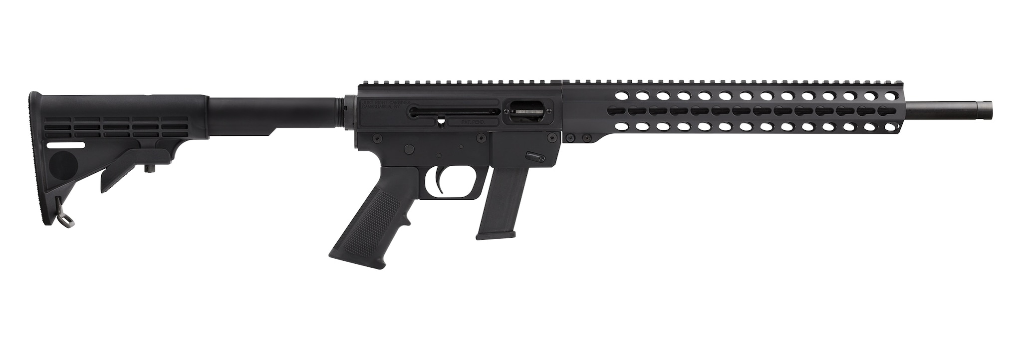 The .40 caliber Glock-magazine KeyMod rail model Just Right Carbine, made in Canandaigua, New York, is slated for adoption by the Buffalo Police Department. (Photo; JRC)