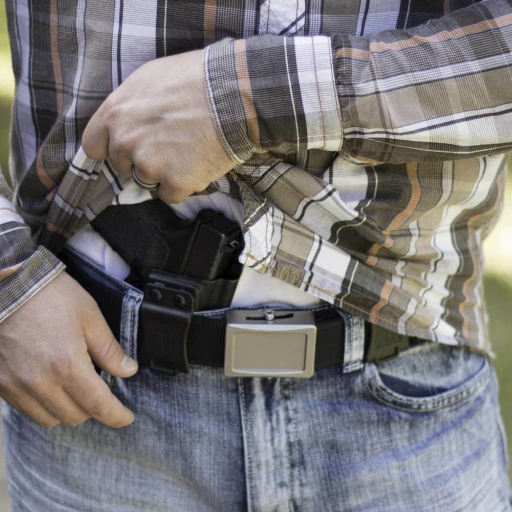 The Smith & Wesson Shield .45 carried AIWB in a Tulster Profile holster. (Photo: Tulster)