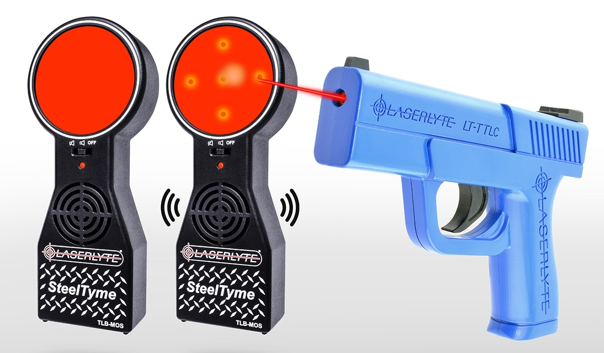 The Steel Tyme targets pair with LaserLyte's Trigger Tyme pistol to offer shooters a means to practice off the range. (Photo: LaserLyte)