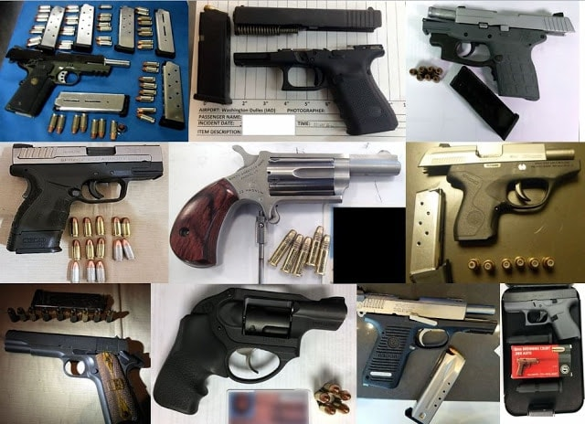 TSA discovered 79 firearms in carry ons at their checkpoints last week including 21 last Thursday alone-- a one day record for the agency. (Photo: TSA)
