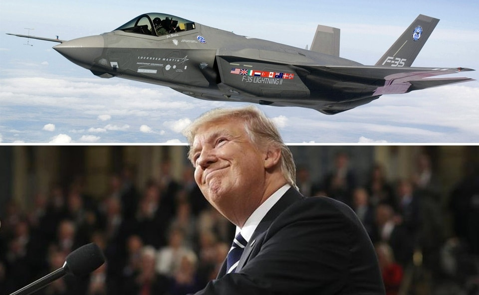 President Donald Trump claims credit for reducing the cost of Lockheed Martin's F-35 fighter jet. (Photo illustration: Jared Morgan via Lockheed Martin / DOD / Getty Images)