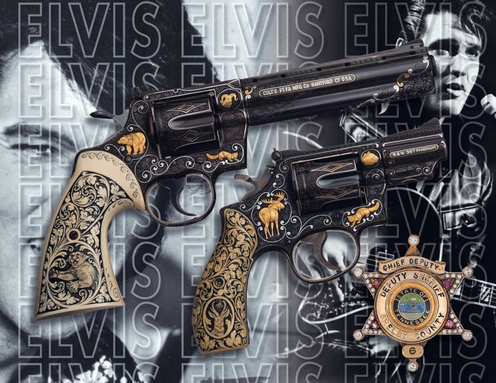 The two revolvers and badge once owned by Elvis up for auction. (Photo: Rock Island Auction Company)