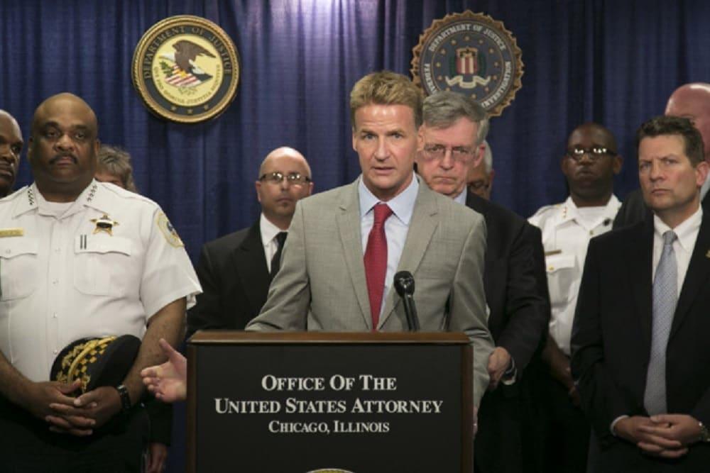 Former U.S. Attorney Zach Fardon speaks at a July press conference (Photo: Chicago Sun-Times)