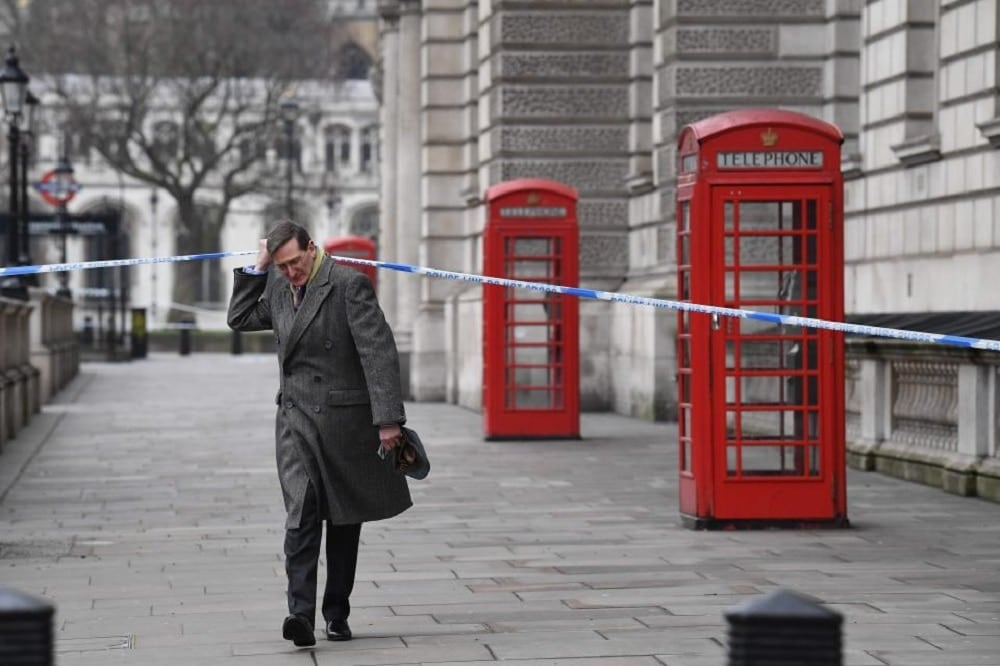 Chairman of the British Intelligence and Security Committee, Dominic Grieve walks to Parliament still on lockdown Thursday (Photo: Getty Images)
