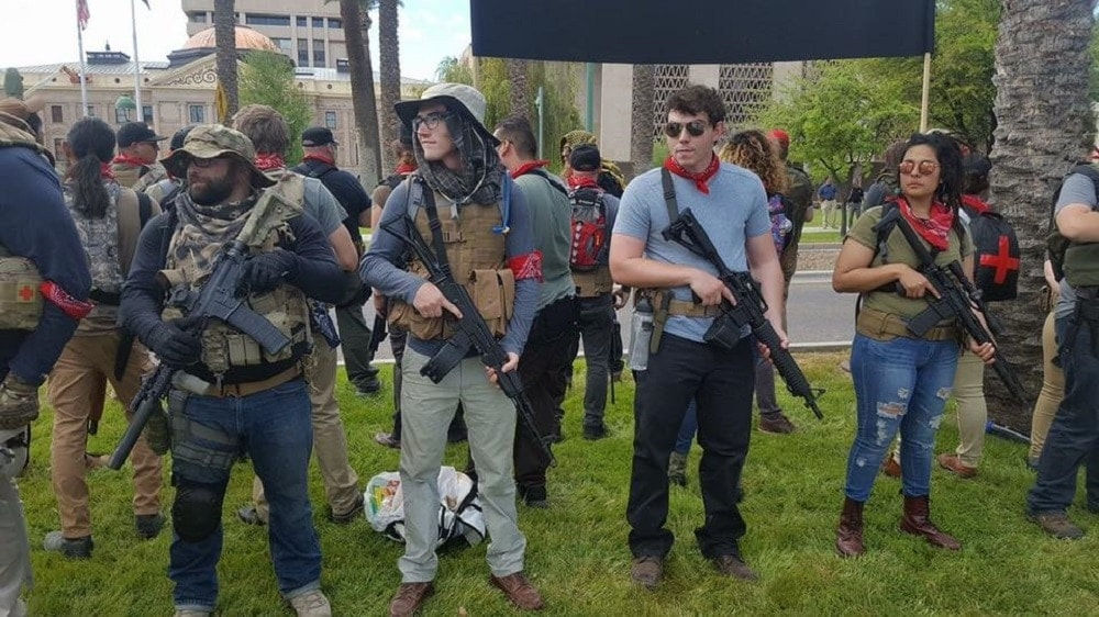 Members of the John Brown Gun Club demonstrated in downtown Phoenix on Saturday, Mar. 25, 2016 (Photo: Facebook)