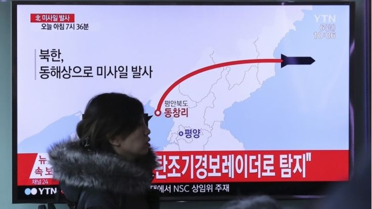 The path of the ballistic missiles shown on South Korean TV (Photo: AP)