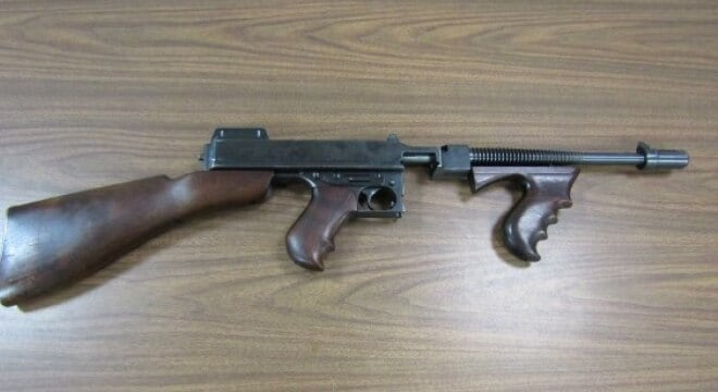 The Colt Navy Over Stamp Thompson has been used by the town's police since the Prohibition era (Photos: Gunbroker)