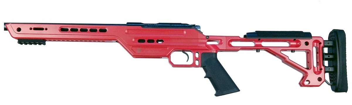 The chassis comes in a variety of colors including red. (Photo: MasterPiece Arms)
