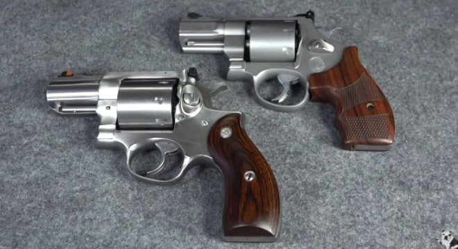 8 shooter standoff comparing the smith 627pc and ruger redhawk