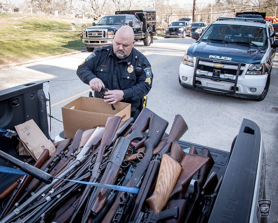Photos posted by the agency show a myriad of vintage long arms including Mauser bolt-action rifles, lever-action Winchesters, a Browning Auto 5 semi-auto shotgun and assorted other firearms piled in the bed of a pickup truck.
