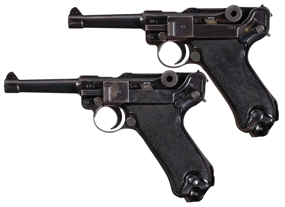 """For those looking at the other end of the scale, there are a number of Mauser-produced """"byf"""" Code WWII-era guns that are priced with estimates starting at $900. This set is of two is consecutively numbered."""