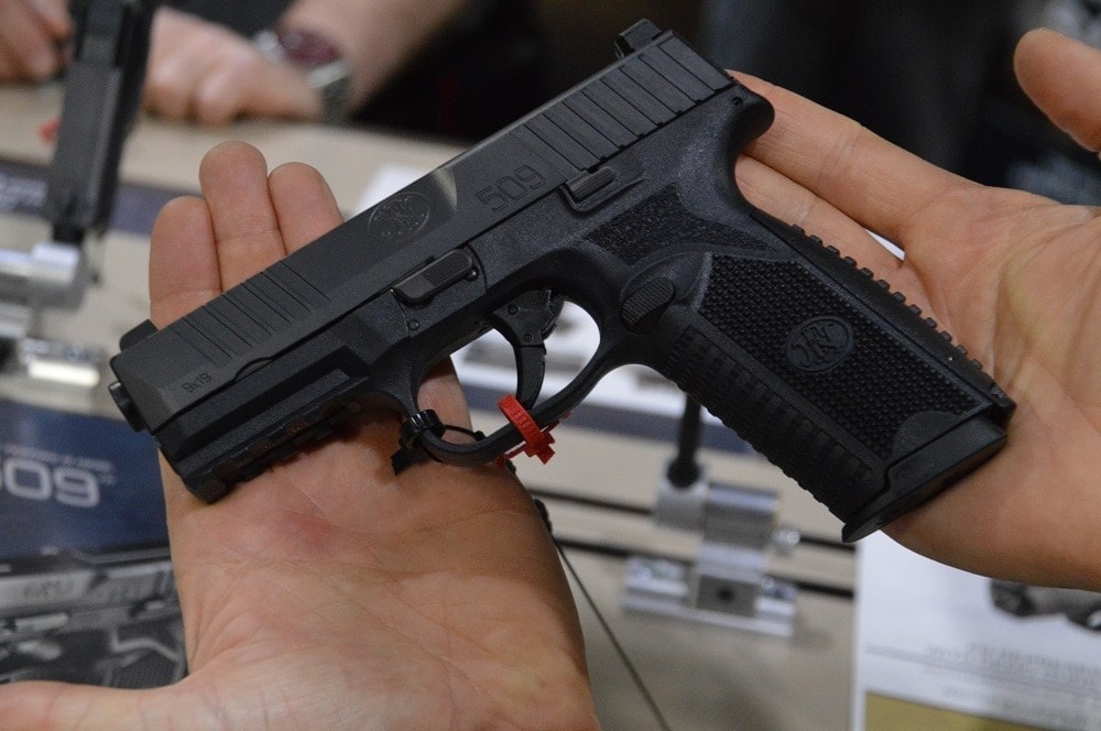 FN USA deployed their FN 509 striker-fired 9mm, evolved from their https://www.guns.com/news/2017/04/28/more-on-the-fn-509-semi-auto-9mm-video/ FNS Compact platform, beefed up for the race for the Army's MHS competition.