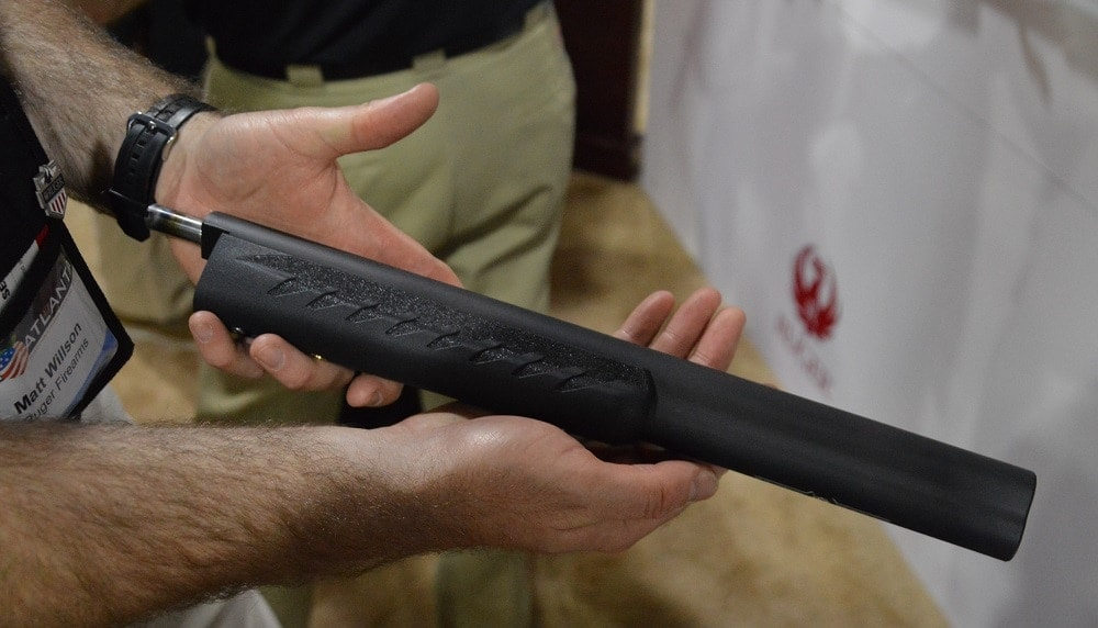 Designed to work with their new Takedown series of 10/22, the 16.12-inch suppressed barrel is a simple changeout and its 2.6-pounds retains a center of gravity close to the rifle's receiver