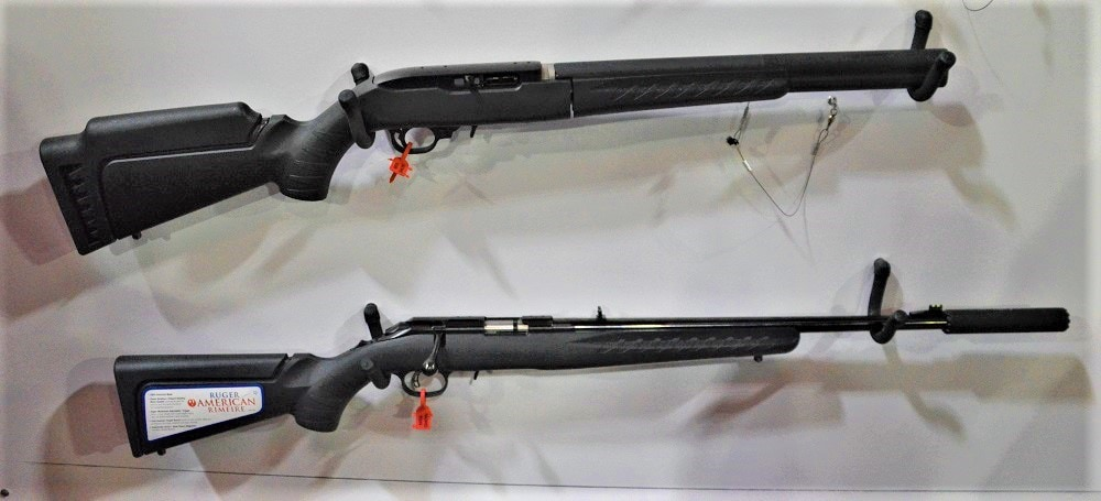 A Ruger 10/22 Takedown with the Silent SR ISB attached compared to the standard muzzle-mounted Silent SR can on a Ruger American Rimfire