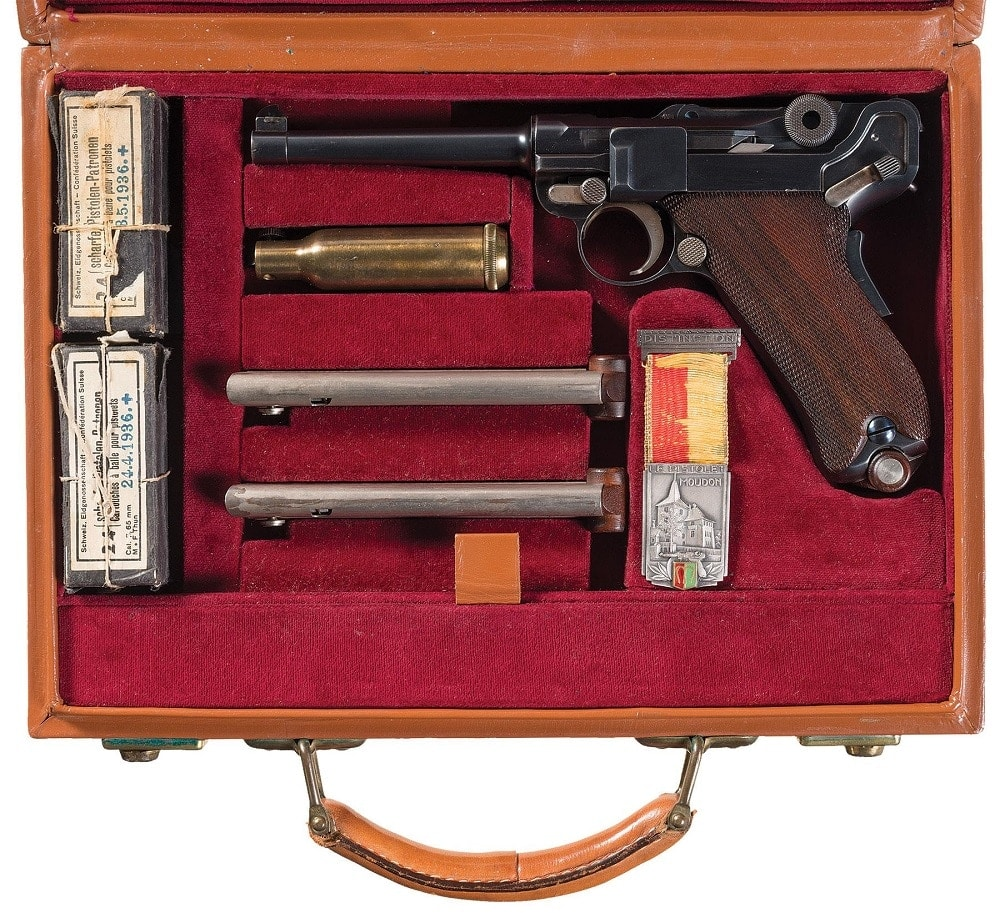 From the same time period is this beautiful DWM Swiss contract Model 1906 Luger sold on the commerical market in 1920s and includes a vintageshooting medal from the Municipality of Moudon, a historic town in the canton of Vaud in Switzerland