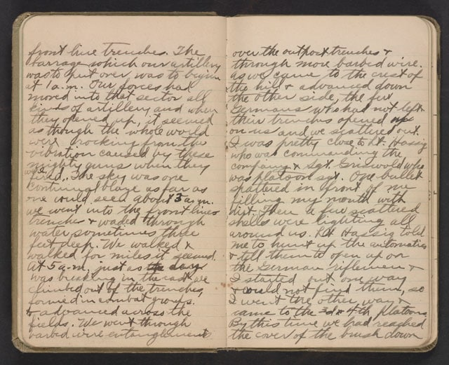 Diary of Vincent Reed, Company K, 358th Infantry, 90th Division, Army of Occupation, American Expedition Forces, 1918. Vincent Cornelius Reed Collection, Veterans History Project. (Photo: Library of Congress)