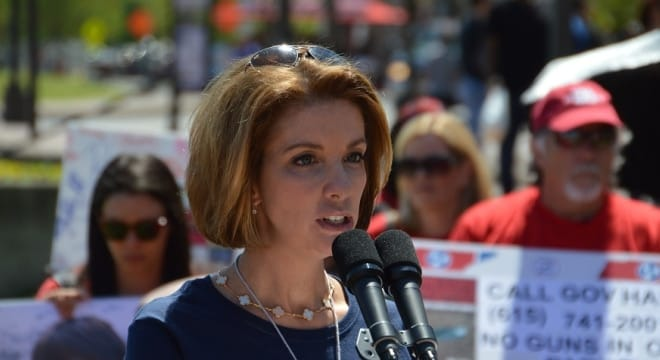 Shannon Watts, founder of Moms Demand Action, speaks at a rally for gun control advocates during the NRA Annual Meeting in Nashville, Tenn. in 2015. (Photo: Chris Eger/Guns.com)
