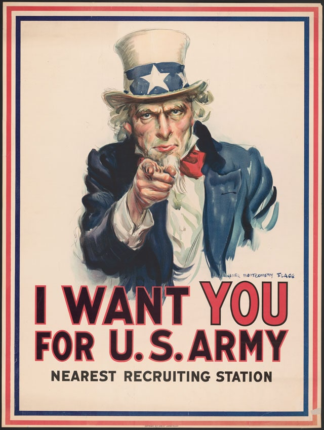 """War poster with the famous phrase """"I want you for U. S. Army."""" James Montgomery Flagg. (Photo: Library of Congress)"""