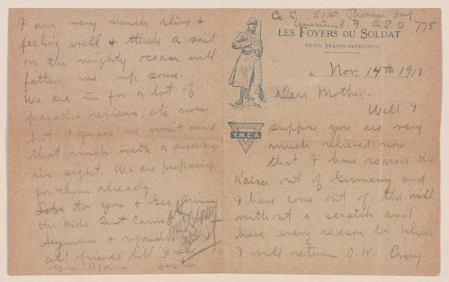 Letter from Lester Westcott to his mother on YMCA stationery, November 14, 1918. Lester Westcott Collection, Veterans History Project. (Photo: Library of Congress)