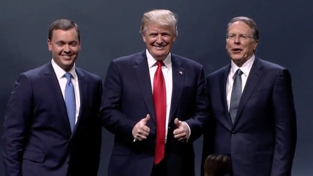 From left: NRA-ILA Executive Director Chris W. Cox, Republican presidential nominee Donald Trump and NRA Executive Vice President Wayne La Pierre. (Photo: NRA News)