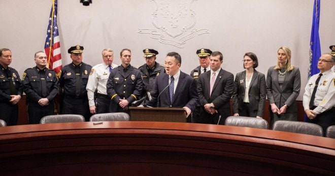 Rep. Tong with other legislators and police chiefs at a press conference in Hartford for the legislation. (Photo: housedems.ct.gov)