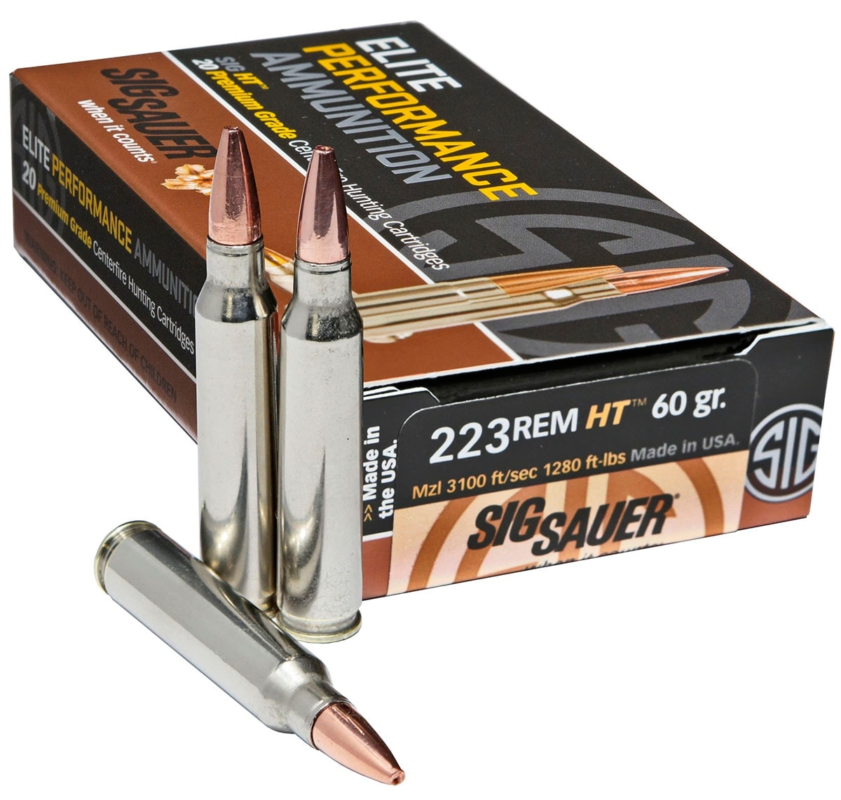 The .223 Rem. round joins the .308 Win and 300 BLK on Sig's rifle ammunition line. (Photo: Sig Sauer)