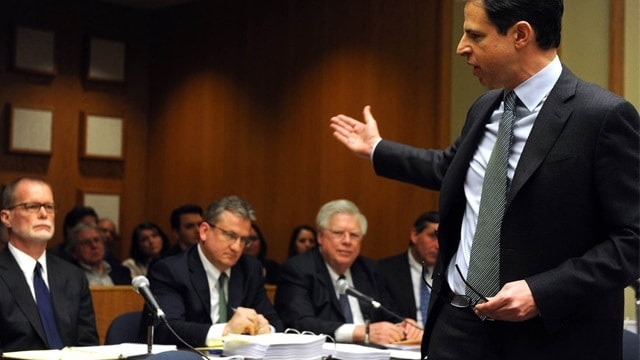 An attorney representing families of Sandy Hook victims addressing attorneys for Remington and other defendants during a hearing in a Connecticut courthouse. (Photo: The Associated Press)