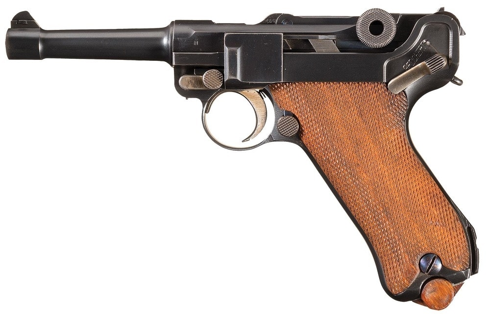 """This 1920 commercial Luger was manufactured from a rebuilt WWI military pistol and sold through an Argentinian retailer, leaving it with both """"Buenos Aries"""" and German markings."""