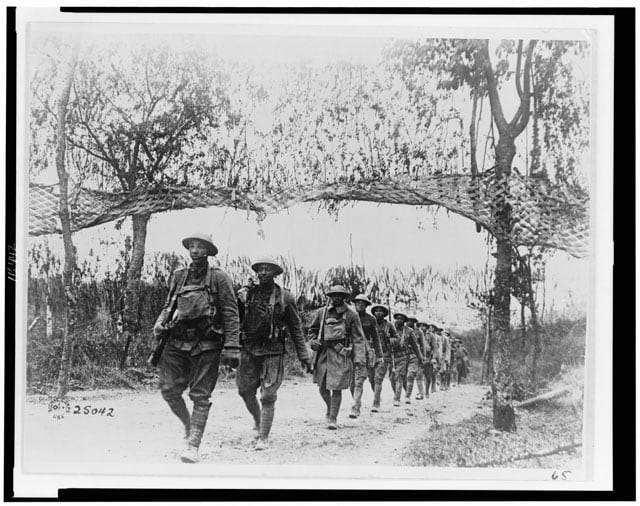 U.S. Army Infantry troops, African American unit, marching northwest of Verdun, France, in World War I. U.S. Army Signal Corps. (Photo: Library of Congress)