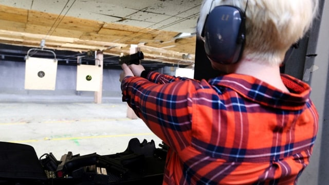 Alexandria Kellner, of Oakland, learns how to shoot firearms during the Pink Pistols biweekly gathering at the San Leandro Shooting Range in San Leandro, Calif., on Wednesday, April 12, 2017. It was Kellner's second time attending this program, which is an organization dedicated to teaching LGBT how to use firearms for self-defense. (Photo: Ray Chavez/Bay Area News Group)