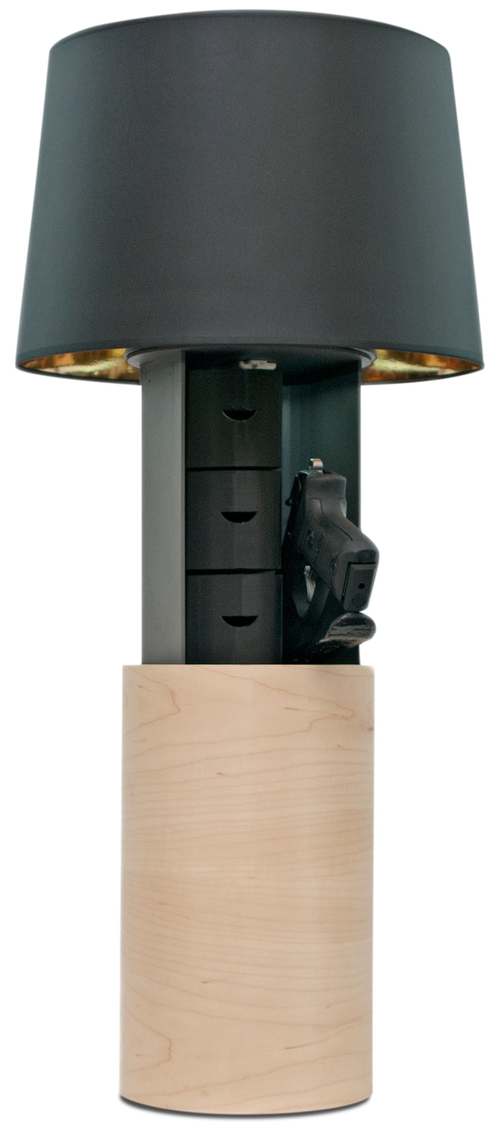 Guns and valuables are stowed in an internal compartment within the smart lamp. (Photo: Odon Inc.)