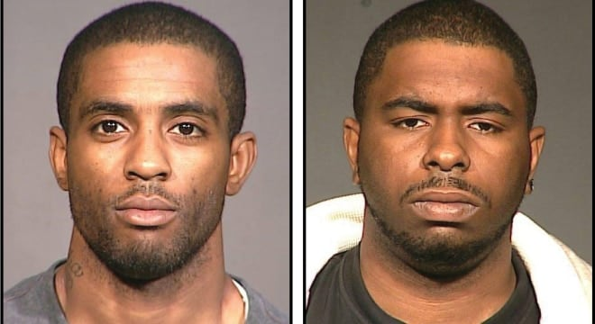 Anthony Black, 33, left, of Savannah, Georgia, and Rasheem Greene, 24, of Lake Park, Florida, were arrested for their role in what police describe as a gun trafficking scheme up the Iron Pipeline (Photos: Queens DA's Office)