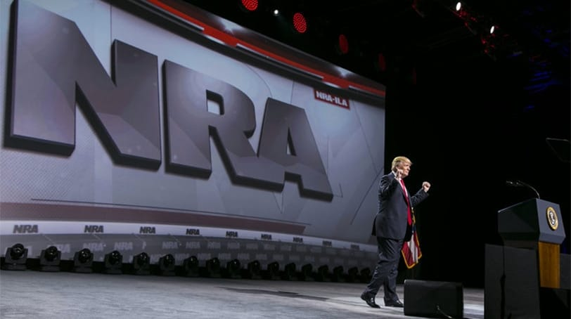 President Donald Trump takes the podium during the National Rifle Association's Leadership Forum at it annual convention Friday, April 28, 2017. (Photo: The New York Times)