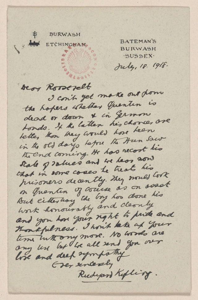 Letter of sympathy from Rudyard Kipling to Theodore Roosevelt
