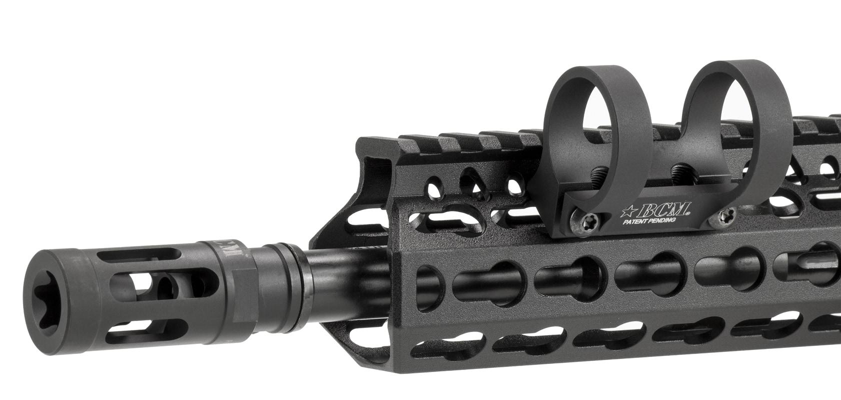 KeyMod utilizes keyhole shapes to mount rifle accessories to the handguard. (Photo: Bravo Company)