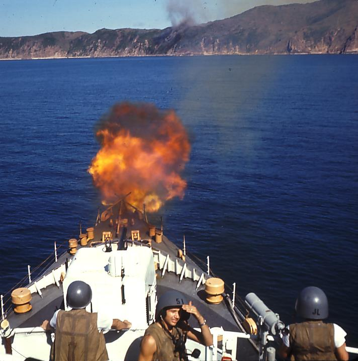 CGC Minnetonka's 5-incher gun crew engaging the enemy during one of that ship's 51 gunfire support missions of their Vietnam deployment. Morgenthau's own 5-incher barked on 19 occasions. (Photo: Keith Barker/USCG Historians Office)