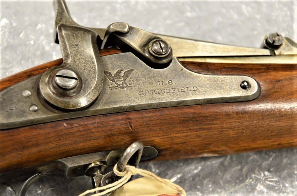 This vintage 1864-made cartridge conversion Springfield has been Army property since the Lincoln Administration and is one of 13,000 historic small arms in storage at Anniston. (Photos: Chris Eger/Guns.com)