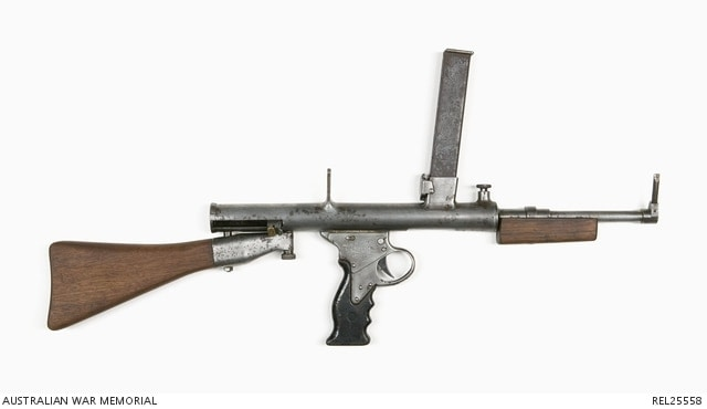 Experimental Owen Mk II Sub-machine Gun sent to patents office