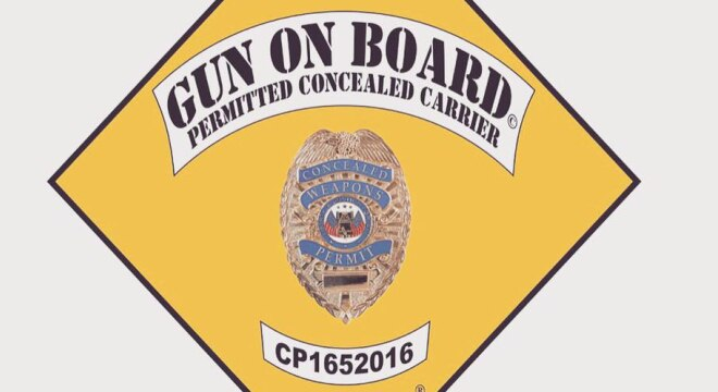"""Carrier Shield"" is a $79-99 sticker program that goes on the back windshield or bumper, which aims to inform any police officers there is a firearm in the vehicle. (Image: Carrier Guard)"