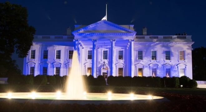 The White House was illuminated blue Monday in honor of newly announced Peace Officers Memorial Day and National Police Week. (Photo: White House.gov)
